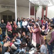 Live from Jamia: Protest outside VC office