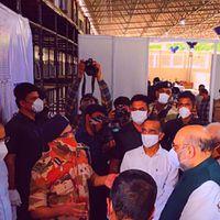 Amit Shah, Kejriwal visit 10,000-bed temporary COVID hospital in Delhi