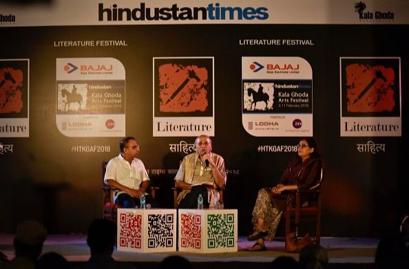 """A discussion on """"From Literature to Cinema"""" between Rakshanda Jalil, Suresh Chabria and Arunava Sinha at DSL Gardens, Kala Ghoda, during the Kala Ghoda Art Festival in Mumbai, India. (Photo by Aalok Soni/Hindustan Times via Getty Images)"""