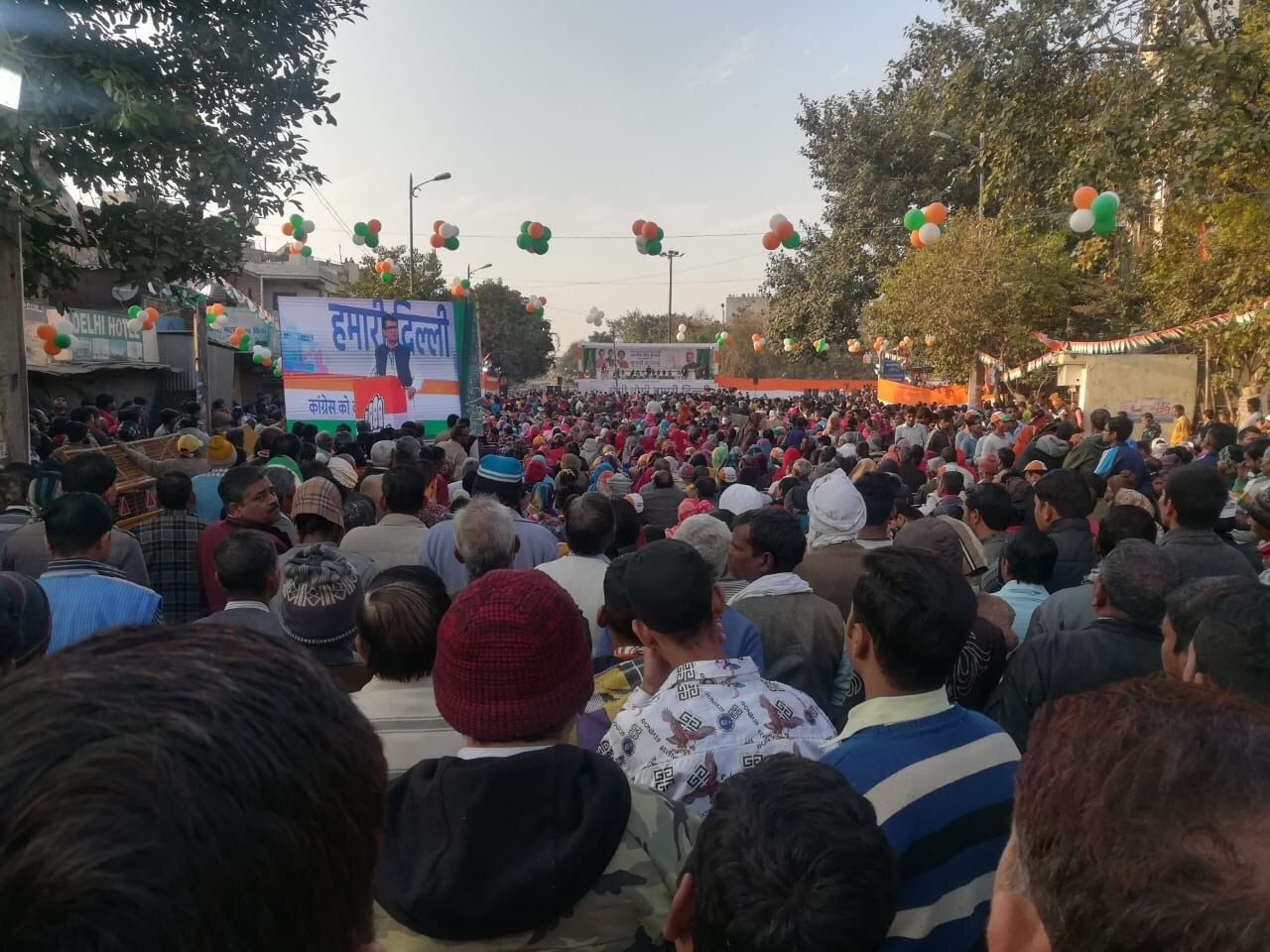 Hundreds turned up at former Congress president Rahul Gandhi's rally in Kondli assembly