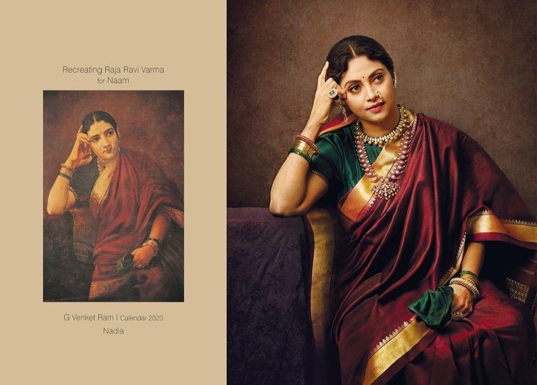 Actress Nadhiya in a recreation of a Raja Ravi Varma portrait.