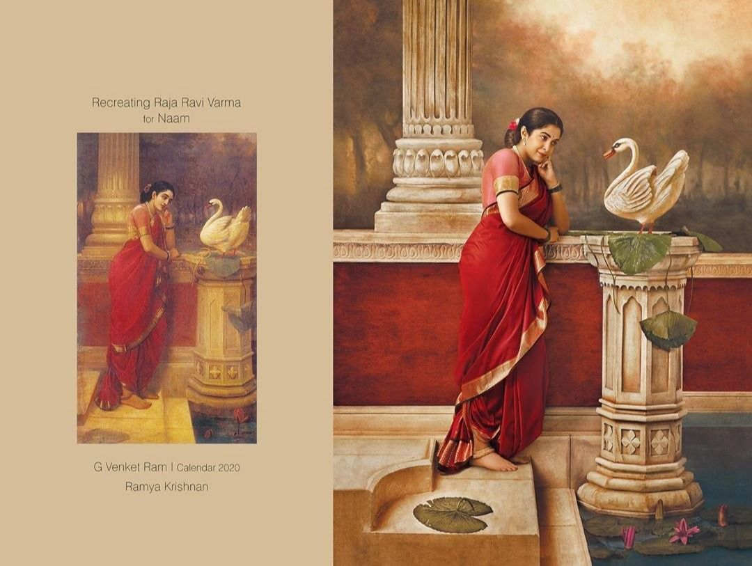 """Actress Ramya Krishnan recreates a painting Venket Ram describes as """"Damayanti listens in rapt attention to the tales of Nala from the swan."""""""