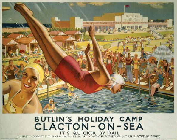 Butlins Holiday Camp, Clacton-on-Sea, ondon & North Eastern Railway poster, 1940.  'The inter-war years saw the rise of the holiday camp because the standard of living improved and families had more money to spend on leisure. Annual holidays became popular and massive investment programmes were launched at popular resorts to attract visitors. The holiday camp provided all the delights and fun of the seaside on one site. Butlin's, at Clacton-on-Sea in Essex, opened in June 1938 and closed at the end of the summer season in 1983.' Artwork by J Greenup. Printed by Jarrold & Sons Ltd of Norwich & London. (Photo by SSPL/Getty Images)