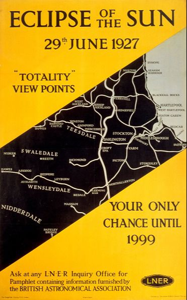 Eclipse of the Sun, 1927.  Poster produced for the London and North Eastern Railway (LNER) to promote rail travel to areas of north-eastern England offering the best views of the solar eclipse of 29 June 1927 at the moment of totality. 'Totality' is the moment or duration of total obscuration of the sun or moon during an eclipse. This poster points out that such an eclipse of the sun was not due to occur again until 1999. Artwork by an unknown artist. (Photo by SSPL/Getty Images)
