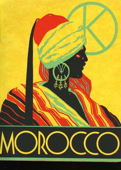 UNITED STATES - CIRCA 1931: Colorful travel poster for the country of Morocco, The silkscreen was published by Gebrauchs Graphik company of Berlin (Photo by Transcendental Graphics/Getty Images)