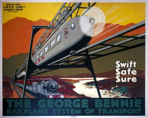 The George Bennie Railplane, 1930s. The George Bennie Railplane System of Transport: Swift, Safe, Sure'. Poster promoting the George Bennie Railplane System. The poster states that the railplane was 'erected over LNER LINE - Milngavie Station'. It was actually over an LNER (London & North Eastern Railway) siding to Burnbrae Dye Works. The poster shows the Railplane (a suspended monorail for passengers set above the existing railway) with an LNER locomotive seen travelling underneath. The project, funded by George Bennie, was set up at Burnbrae, near Milngavie, East Dunbartonshire, as an experiment. It was dismantled in 1956. Artwork by WCN who worked for the McCorquodale Studio. (Photo by SSPL/Getty Images)
