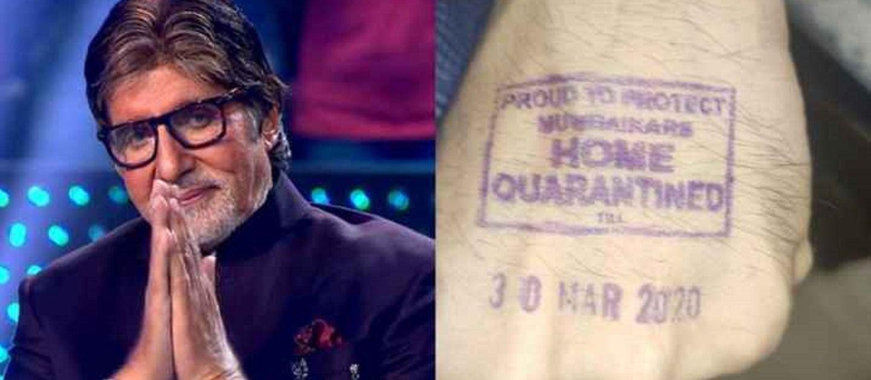 Image result for अमिताभ के हाथ पर भी लगी होम क्वारैंटाइन्ड की मुहर