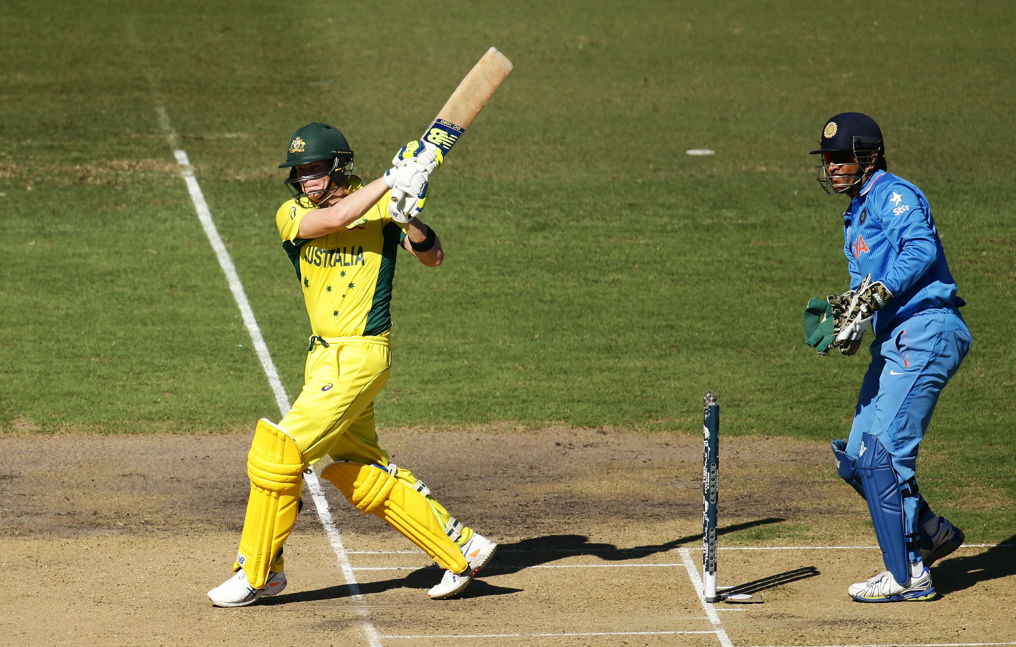 (Steve Smith bats during the 2015 Cricket World Cup Semi Final match at Sydney Cricket Ground on March 26, 2015)
