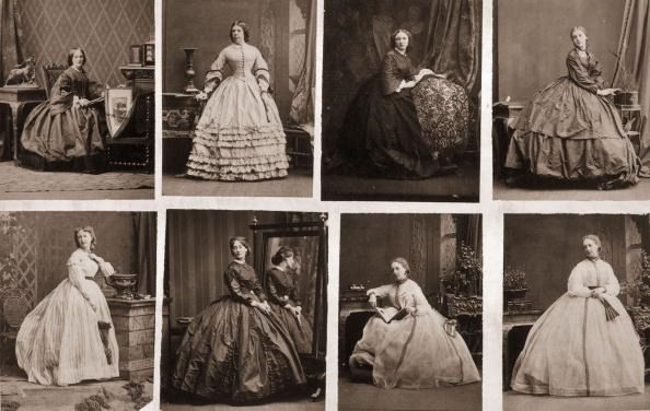 A series of images depicting Victorian women wearing crinolines, circa 1860. (Photo by Hulton Archive/Getty Images)